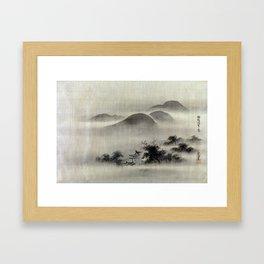 Kano Tsunenobu Temple Framed Art Print