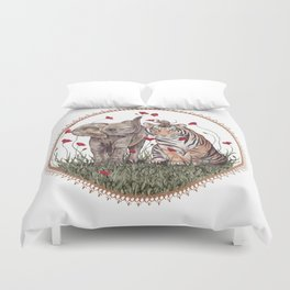 Tiger, Baby Elephant, and Mouse Playing in Poppies Duvet Cover