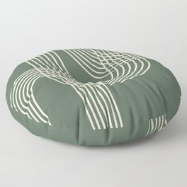 Minimalist Lines in Forest Green Floor Pillow