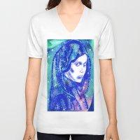 leia V-neck T-shirts featuring Princess Leia by grapeloverarts