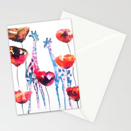 Giraffes and Poppies Stationery Cards