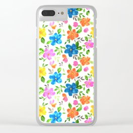 watercolor spring flower pattern Clear iPhone Case