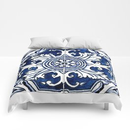 Blue and White Floral Portuguese Tile Comforters