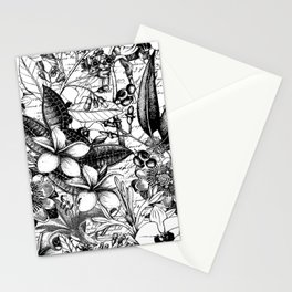 Black And White Tropical Flower Pattern Stationery Cards