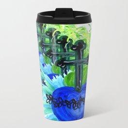 Sacred Heart, blue Metal Travel Mug