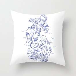 Astronaut Tethered Caravel Ship Drawing Throw Pillow