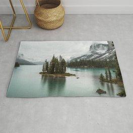 Emerald Landscape Photography   Maligne Lake   Jasper Alberta   Spirit Island Rug