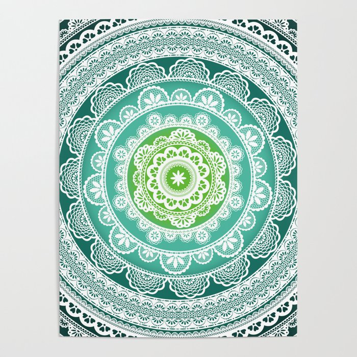 Decorative Mandala Green Blue Teal Poster By