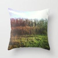 hiking Throw Pillows featuring Hiking Rainbow by Sabrina Elewa