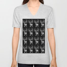 Deer Pattern in Black and white with Branchers for antlers Unisex V-Neck