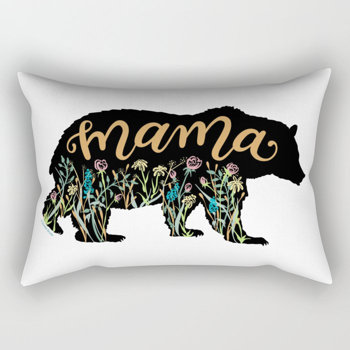 Mama Bear with Pretty Wildflowers Hand Lettering Illustration Rectangular Pillow
