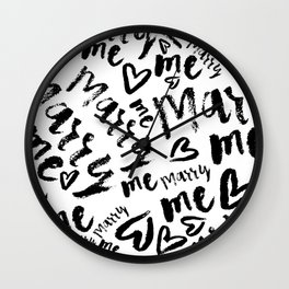 MARRY ME - romantic collection in black and white Wall Clock