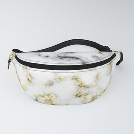 Black and white marble gold sparkle flakes Fanny Pack