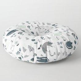 Sleepy Woodland Animals - Mint Floor Pillow