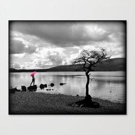 Red Umbrella at Milarrochy Bay, Loch Lomond Canvas Print