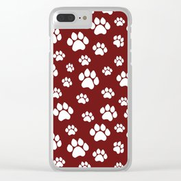 Puppy Prints on Maroon Clear iPhone Case