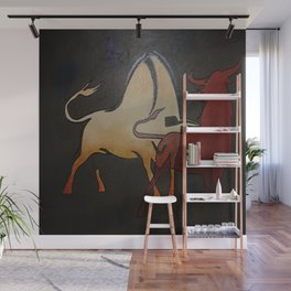 Two Bulls Fighting Wall Mural