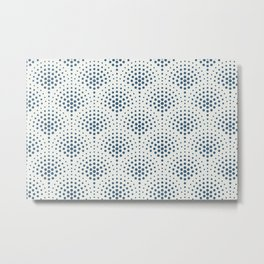 Blue Polka Dot Scallop Pattern on Off White Pairs To 2020 Color of the Year Chinese Porcelain Metal Print