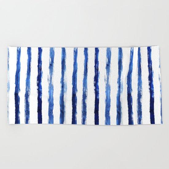 Blue painted stripes Beach Towel