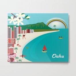 Oahu, Hawaii - Skyline Illustration by Loose Petals Metal Print