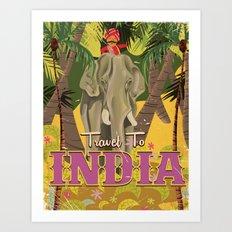 india elephant vintage travel poster Art Print