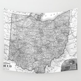 Vintage Map of Ohio (1864) BW Wall Tapestry
