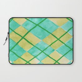 Hand Painted Classic Argyle Pattern Shades of Green Laptop Sleeve