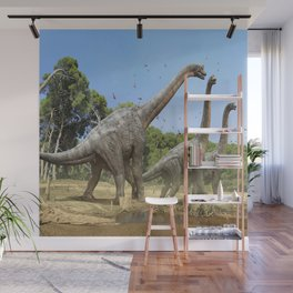 Dinosaurs walking on the river Wall Mural
