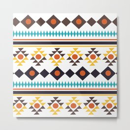 Fun Aztec Abstract Whimiscal Brown Yellow Teal Pattern Metal Print