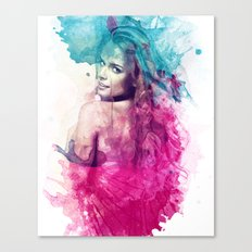 Woman in Splash of Watercolor Canvas Print