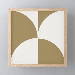 Diamond Series Round Checkers White on Gold Framed Mini Art Print