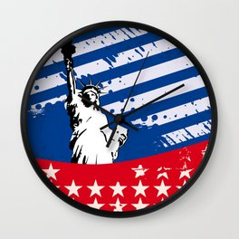 USA Flag - American Flag - Statue of Liberty - 4th July Wall Clock