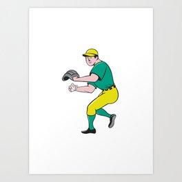 American Baseball Player OutFielder Throwing Ball Cartoon Art Print