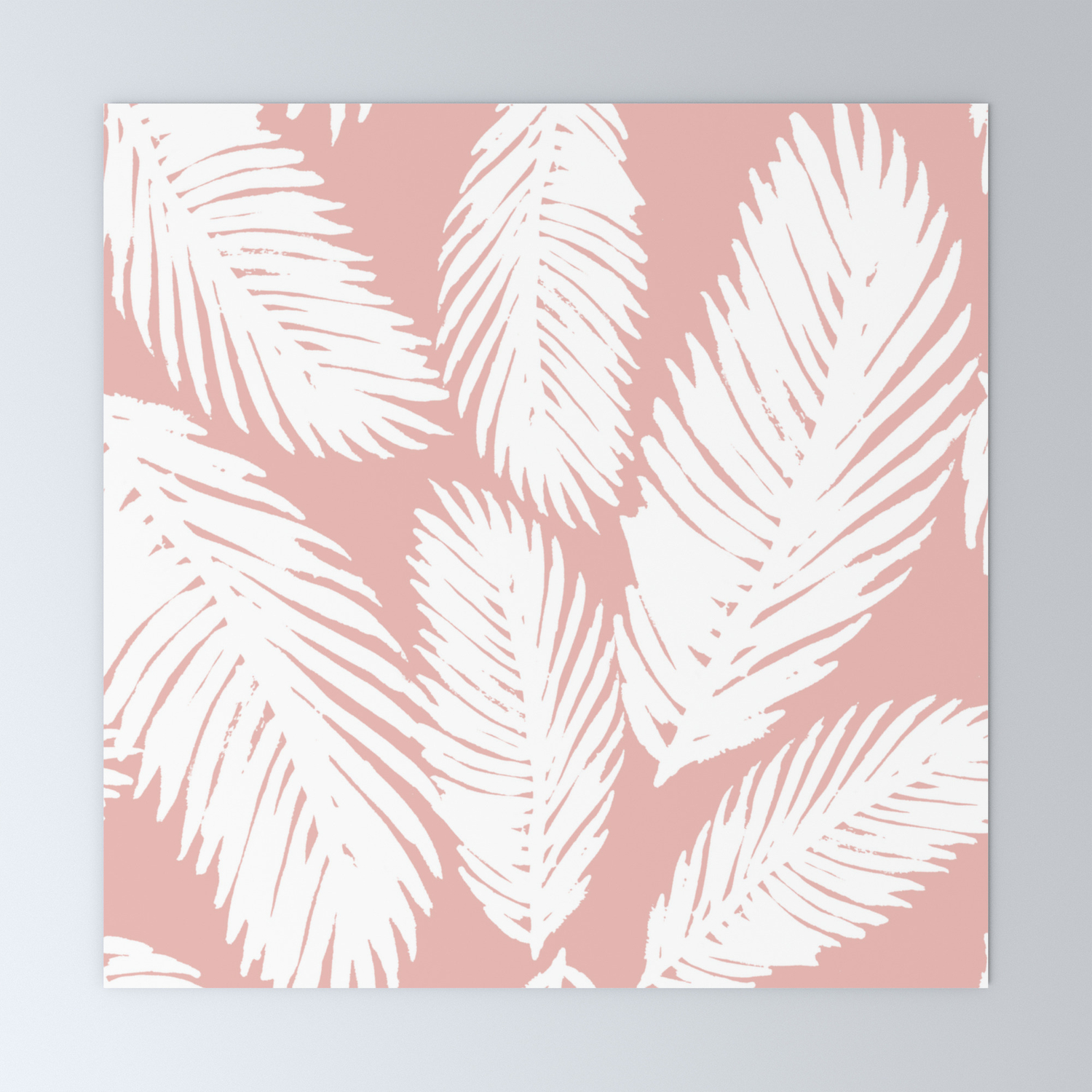 Pink Tropical Leaf Pattern Mini Art Print By Julieerindesigns