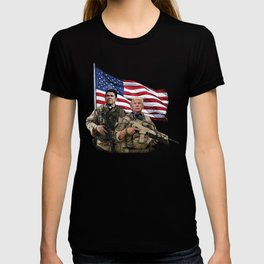Presidential Soldiers: Ronald Reagan & Donald Trump USA Flag T-shirt