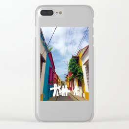 C for Cartagena Fun Cut Out Cartagena Street Print Clear iPhone Case