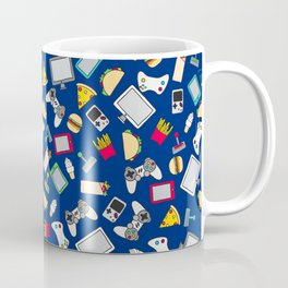 Gamer Blue Gaming Fast Food Kids Retro Pattern Coffee Mug