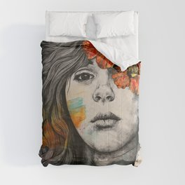 Softly Spoken Agony | flower girl pencil portrait Comforters