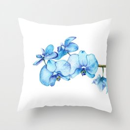 Blue Orchids Two - Watercolor Throw Pillow