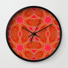 Vintage Crystal Floral Auburn Burnt Orange Wall Clock