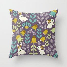 Bunnies Amid Enchanted Tulips Throw Pillow