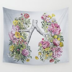 Floral Anatomy Lungs Wall Tapestry