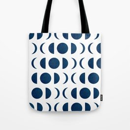 Phases of the Moon - Midnight Blue - Block Print Pattern Tote Bag
