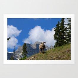 Ram Against Mountain Backdrop Art Print