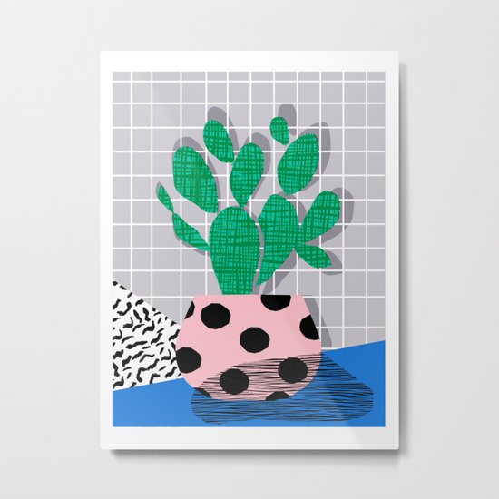 Iffy - cactus desert palm springs socal memphis hipster neon art print abstract grid pattern plant Metal Print