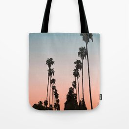 California Sunset // Palm Tree Silhouette Street View Orange and Blue Color Sky Beach Photography Tote Bag