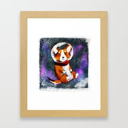 Space Corgi - Blue Framed Art Print