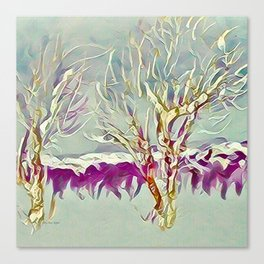 Winter Trees Purple Teal Gold Buffalo by CheyAnne Sexton Canvas Print