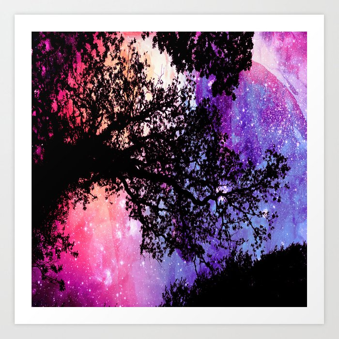 Black Trees Pink Purple Space Art Print