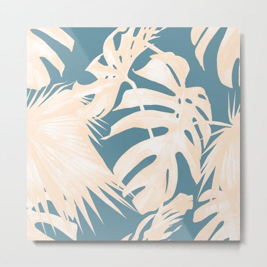 Palm Leaves Citrus on Deep Ocean Blue Metal Print